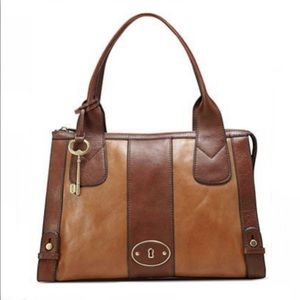 Fossil Vintage Reissue Two Tone Leather Satchel